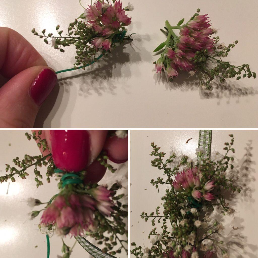 Blumenkranz binden - die Blumen befestigen