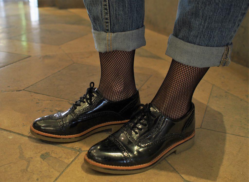 Outfit Longweste schwarze Lackschuhe