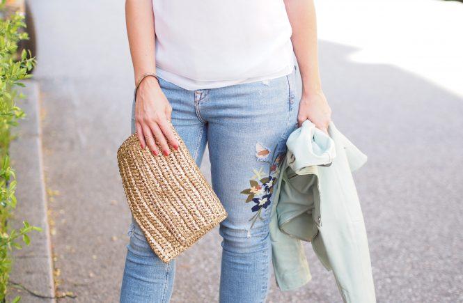 Outfit Blumenstickerei Jeans Zara